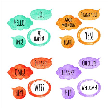 Set, collection of watercolor vector speech bubbles, text balloons, clouds and oval frames with Thank you, Hello lettering. Red, orange, mint green, violet watercolour shapes, design elements.