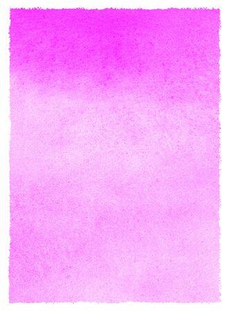 Fuchsia pinkfarbene Rechteck-Aquarellstruktur mit vertikalen Farbverlaufsflecken und rauen Kanten. Heller bunter Aquarell gemalter Hintergrund. Handgezeichnete abstrakte Aquarellfüllung, Textrahmenschablone