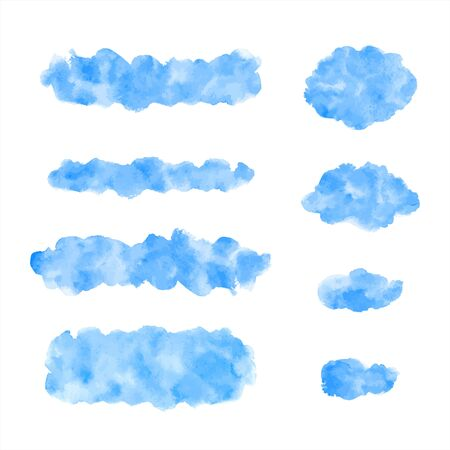 Watercolor graphic design elements set. Sky blue brush strokes, spots, oval smears, uneven stripes, smudges. Watercolour stains text banner, cloud shape, frame template. Painted water, sea background