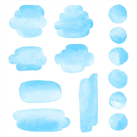 Sky pastel blue watercolor cute graphic design elements set. Brush strokes, smudges, smears, oval rounded watercolour shapes, circles, paint spots, round water stains. Sea, marine background.