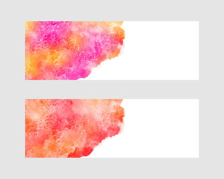 Autumn watercolor banners set. Orange, red, pink colorful watercolour stains, uneven deckled rounded edge. Background, text frame, border template. Painted hand drawn texture, graphic design element.