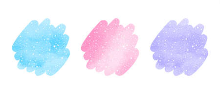 Winter watercolor shapes, text frames set, collection. Round brush strokes, uneven circles with falling snow hand drawn texture. Blue, violet, pink watercolor stains. New Year graphic design element.