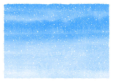 Falling snow winter watercolor background. Horizontal gradient texture with blue watercolour stains, splash, spray, dots snowflakes. Christmas, New Year hand drawn rectangle template with deckled edge