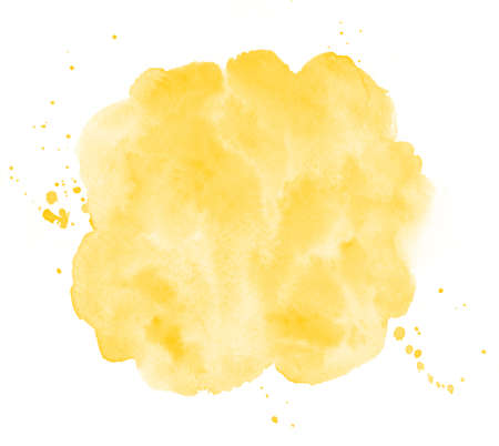 Chrome, amber yellow watercolor round background, frame. Uneven circle shape with watercolour stains, splashes, blobs. Painted template for lettering. Hand drawn abstract aquarelle fill, texture