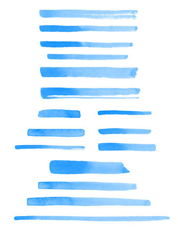Set of watercolor brush strokes, uneven lines, blue stripes, underlines, rectangle shape doodle streaks, bars. Hand drawn watercolour design elements, text backgrounds, banners. Water templates.