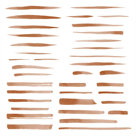 Set of vector coffee brown watercolor brush strokes, uneven lines, stripes, underlines, doodle streaks, smears. Hand drawn design elements collection, text backgrounds. Coffeehouse, cafe templates.