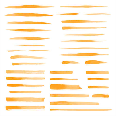 Set, collection of vector orange watercolor brush strokes, uneven lines, rectangle stripes, underlines, doodle streaks, fusiform smears. Hand drawn design elements, text backgrounds, templates.