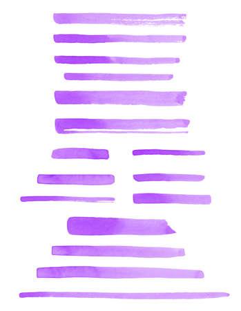 Set of lilac, purple, violet watercolor brush strokes, uneven lines, stripes, underlines, doodle streaks, rectangle smears. Hand drawn watercolour design elements, templates, text backgrounds. Foto de archivo