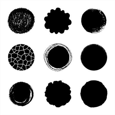 Set, collection of round hand drawn vector shapes. Various circle templates - mosaic, chalk or brush drawn, deckled or wavy uneven edge. Artistic textured frame, banner templates, creative backgrounds