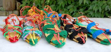 Handmade colored sandals Foto de archivo