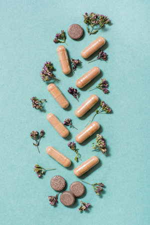 Medicinal capsules, pills and herbs in the form of a branch on a green background. Alternative medicine. Top and vertical view