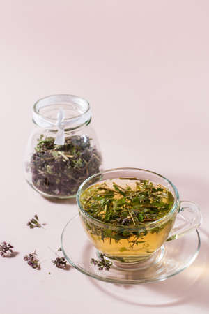 Fresh hot tea with oregano in a cup and dry herb in a jar. Herbal medicine and alternative therapy. Vertical view