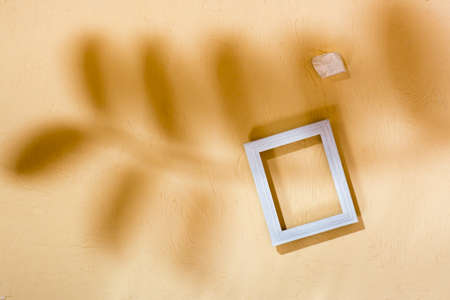Modern abstract life style background: concrete, empty photo frame and stone in soft shadows from leaves. Top view. Place for text Standard-Bild