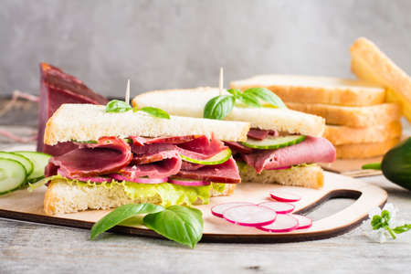 Fresh sandwiches with pastrami, cucumber and radish on a cutting board. American snack. Rustic style