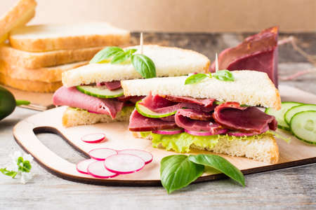 Fresh sandwiches with pastrami and vegetables on a cutting board. American snack. Rustic style