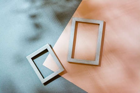 Modern abstract life style background: cardboard and blank photo frames in soft shadows from the leaves. Top view. Place for text