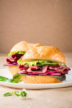 Ready-to-eat hamburger with pastrami, vegetables and basil on a plate on craft paper. American fast food. Vertical view. Copy space Standard-Bild