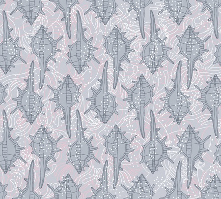 Seamless vector pattern with seashells on a gray background can be used for graphic design, textile design or web design  Vector