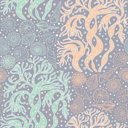 Seamless vector pattern with algae and seashells can be used for graphic design, textile design or web design  Vector