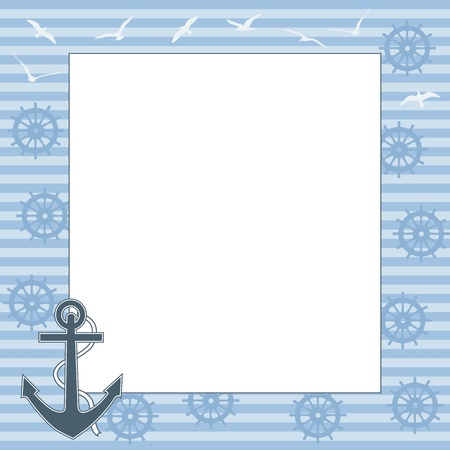 swimming bird: Vector marine frame with space for text or photo