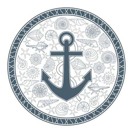 Vector illustration with anchor and seashells can be used for graphic design, textile design or web design  And as for printing on T-shirts, textiles, souvenirs  Vector