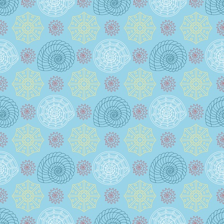 shell pattern: Seamless vector pattern with colorful seashells can be used for graphic design, textile design or web design