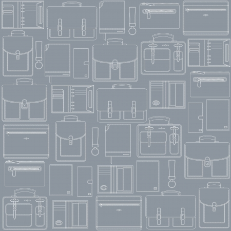 leather goods: Seamless vector pattern with leather goods on the gray background can be used for graphic design, textile design or web design  Illustration