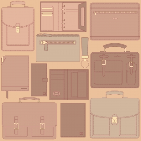 leather goods: Seamless vector pattern with leather goods can be used for graphic design, textile design or web design