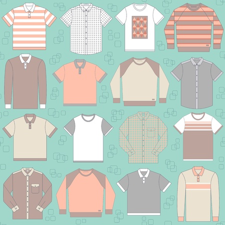 checkered polo shirt: Seamless vector pattern with clothing for men can be used for graphic design, textile design or web design  Illustration