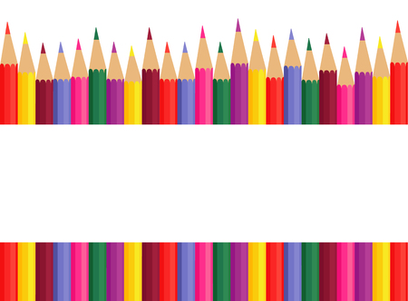 Vector illustration of colored pencils. Pencils, space for text grouped individually. Illustration