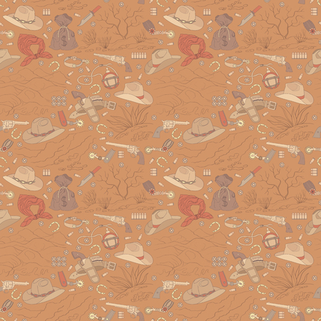 Seamless vector cowboy pattern with landscapes can be used for graphic design, textile design or web design.