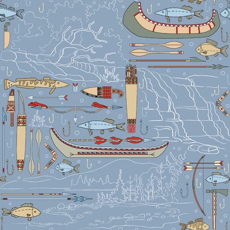 Seamless Native American pattern with river landscapes can be used for graphic design, textile design or web design. Illustration