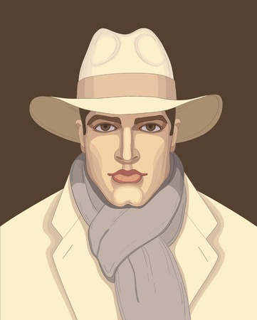 Cool Vector illustration man in the hat can be used for graphic design, textile design or web design. 向量圖像
