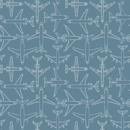 Seamless pattern with passenger airplanes number one can be used for graphic design, textile design or web design.