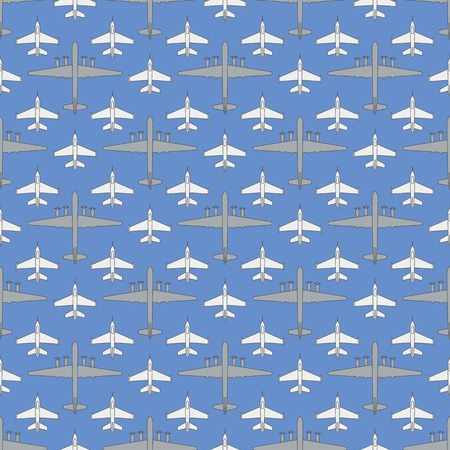 Seamless pattern with military airplanes number three. Can be used for graphic design, textile design or web design.