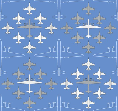 Seamless pattern with military airplanes number four. Can be used for graphic design, textile design or web design.