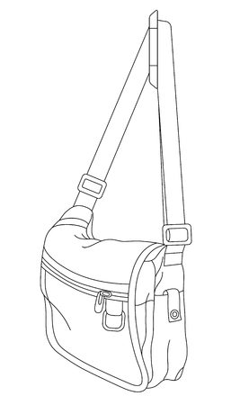 Vector line art bag. Hand-drawn vector illustration. Can be used for graphic design, textile design or web design.