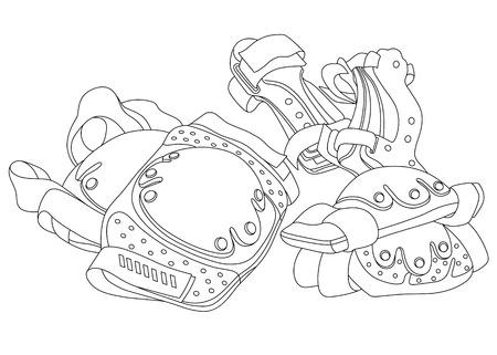 Quipement de protection de patin à roulettes Vector Art. Illustration vectorielle dessinée à la main. Peut être utilisé pour la conception graphique, la conception textile ou la conception web. Banque d'images - 74189729