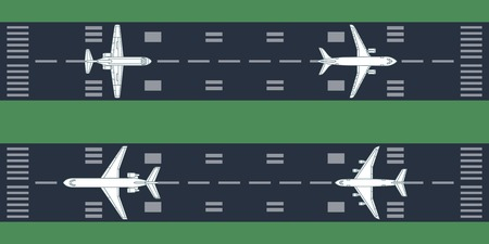 Airplanes at runway. Vector illustration. Each object is grouped individually.