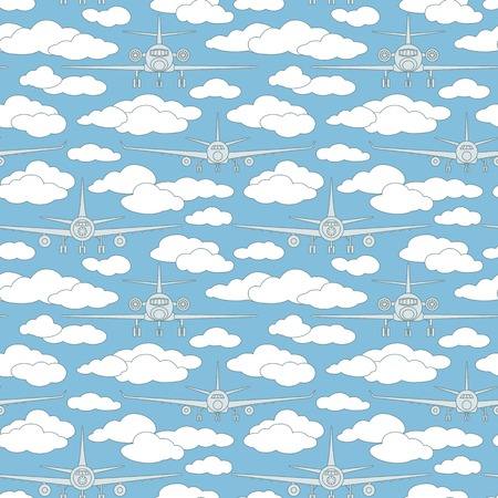 fuselage: Seamless vector pattern with airplanes number five can be used for graphic design, textile design or web design. Illustration