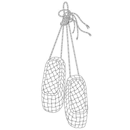 Vector line art bast zapatos. Ilustración a mano aislado en blanco. Puede ser utilizado para diseño gráfico, diseño textil o diseño web. Ilustración de vector
