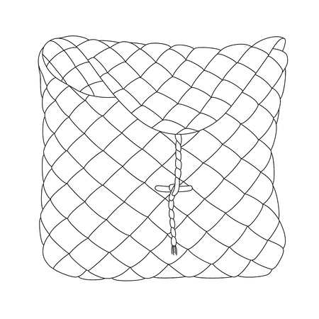 Vector line art birch-bark basket. Hand-drawn illustration isolated on white. Can be used for graphic design, textile design or web design.