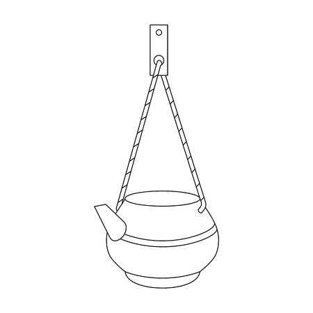 Vector line art kettle on a rope for washing. Hand-drawn illustration isolated on white. Can be used for graphic design, textile design or web design.