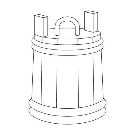 Vector line art wooden tub. Hand-drawn illustration isolated on white. Can be used for graphic design, textile design or web design.