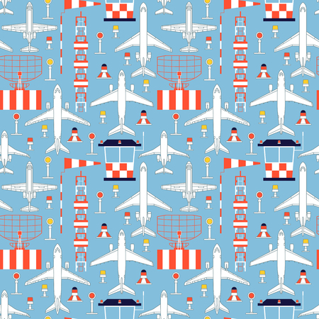 aerodrome: Seamless pattern with passenger airplanes and aerodrome facilities can be used for graphic design, textile design or web design.