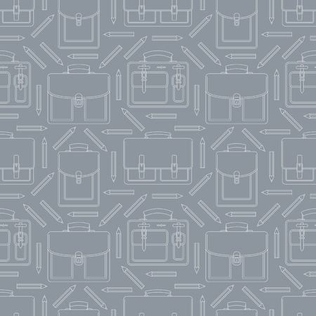 Seamless pattern with portfolios and pencils. Can be used for graphic design, textile design or web design. Vettoriali