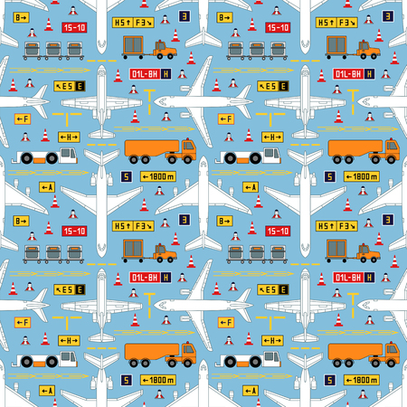 Seamless aviation vector pattern with airplanes and airport vehicles. Can be used for graphic design, textile design or web design. Illustration