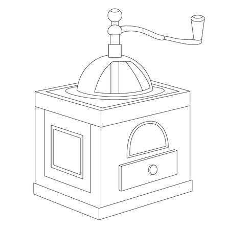 Vector illustration of manual coffee grinder isolated on a white background. Can be used for graphic design, textile design or web design.