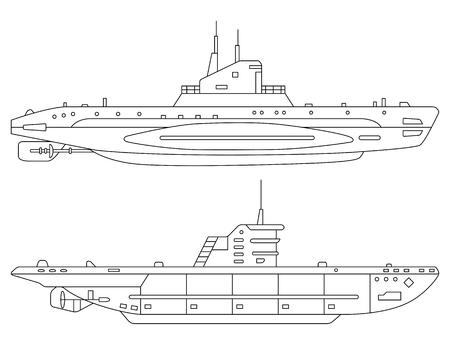 Vektor-Illustration von U-Booten auf einem weißen Hintergrund. Kann für Grafikdesign, Textildesign oder Webdesign verwendet werden.