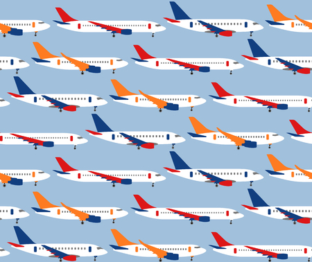 Seamless vector pattern with different types of passenger aircraft. Can be used for graphic design, textile design or web design.